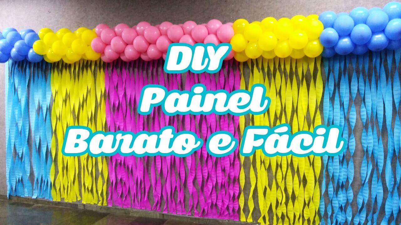 PAINEL com PAPEL CREPOM Cortina para FESTA INFANTIL YouTube -> Decoração De Papel Crepom Como Fazer