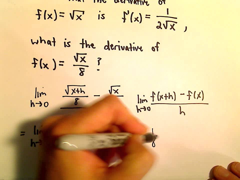 Limit Definition Of Derivative Square Root Example Youtube