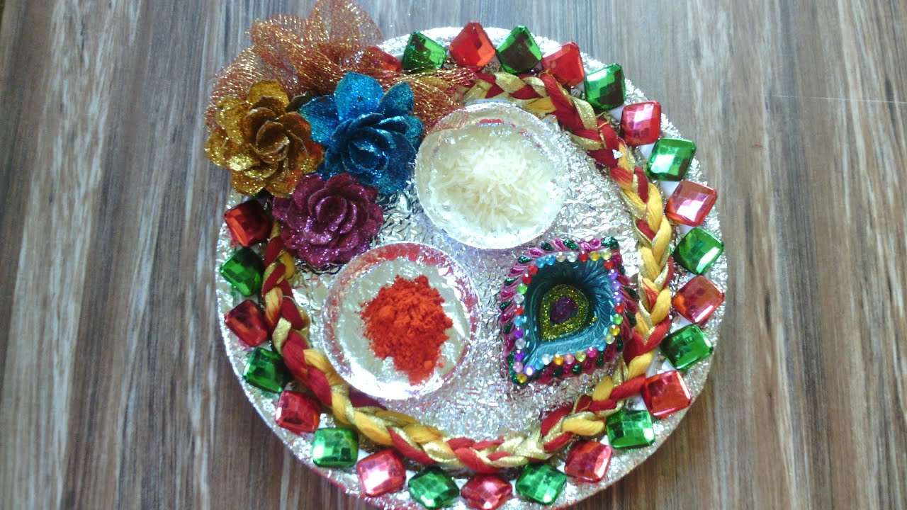 Raksha bandhan thali raksha bandhan thali decoration for Aarti thali decoration ideas for competition