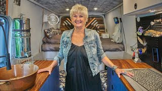 Solo Female Van Life at age 70! Tour of INCREDIBLE DIY Ford Transit Stealth Camper Conversion.