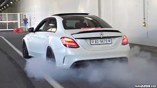 INSANE LOUD Mercedes C63 S AMG Doing Burnouts amp; Revs