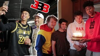 COURTSIDE WITH LAVAR BALL! Surprising Roommates with Gifts!