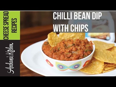 Chilli Bean Dip With Chips Recipe - Party Snack By Archana's Kitchen