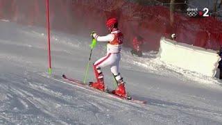 JO 2018 : Ski alpin - Slalom Hommes. Marcel Hirscher est parti à la faute !