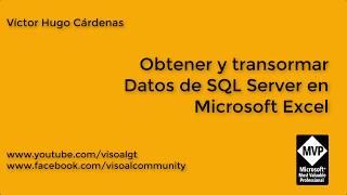 Obtener y Transformar de SQL Server a Excel