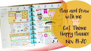 Plan and Draw With Me | Happy Planner | Cat Theme - NO etsy stickers
