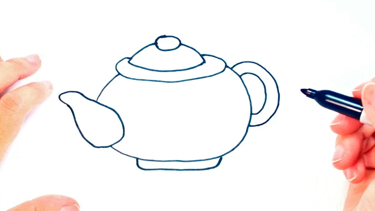 how to draw a teapot for kids teapot easy draw tutorial youtube
