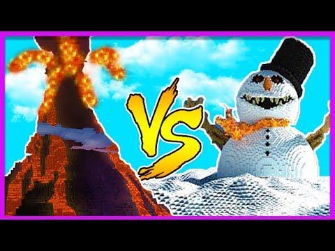 Minecraft - VOLCANO VS SNOW BASE (Volcano Vs Base Challenge)