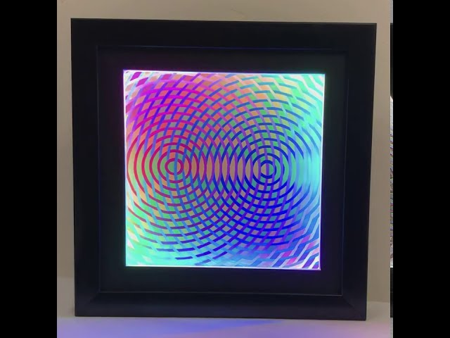 Revolving Rainbow Art with Color-Shifting LED Frame