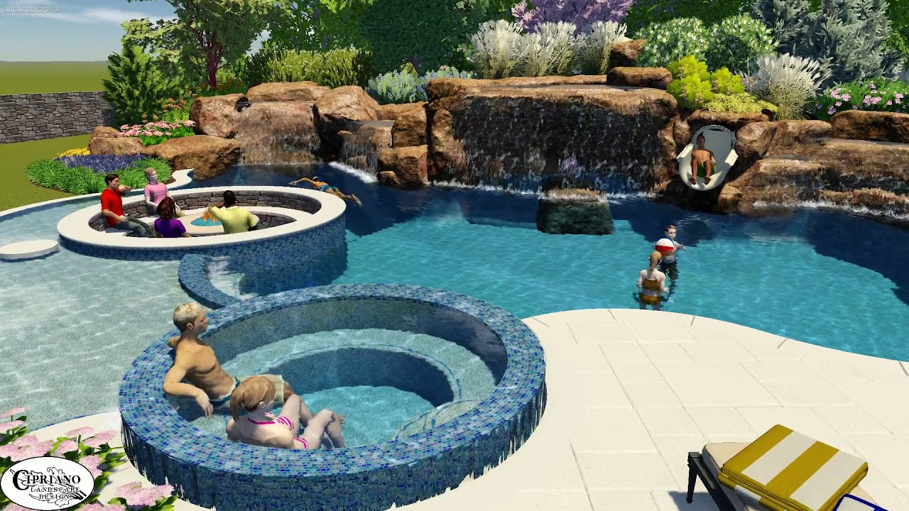 Swimming Pool With Grotto And Sunken Fire Pit Youtube