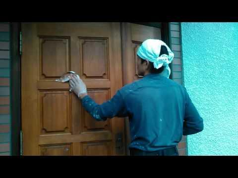 あんしん塗装店 玄関ドアバトン拭き取り 芦屋市