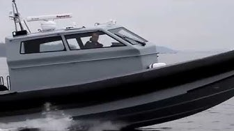 Cabin Patrol boat with triple 350 hp Verado outboard engines for border control in the Mediterranean