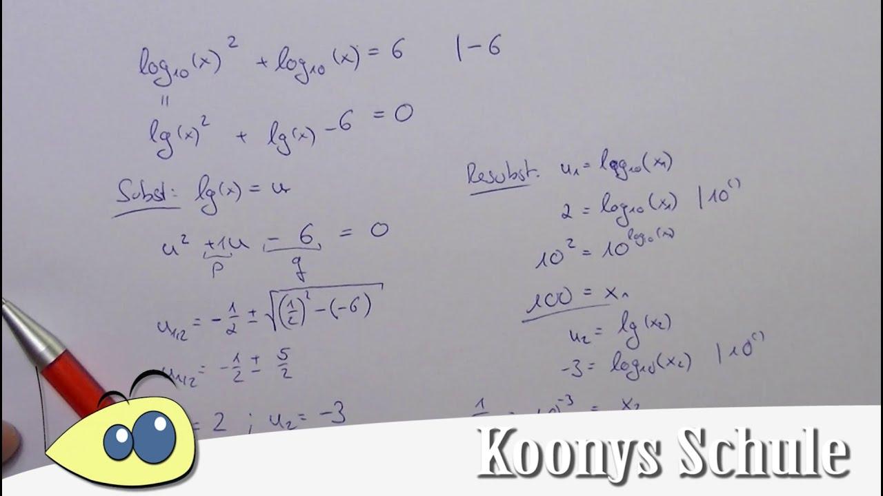 Logarithmusgleichung mit Substitution und pq-Formel, Beispiel, Lösen ...