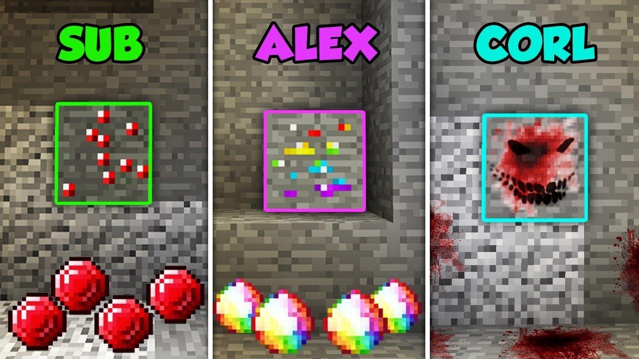 sub-vs-alex-vs-corl-rare-ores-in-minecraft-the-pals