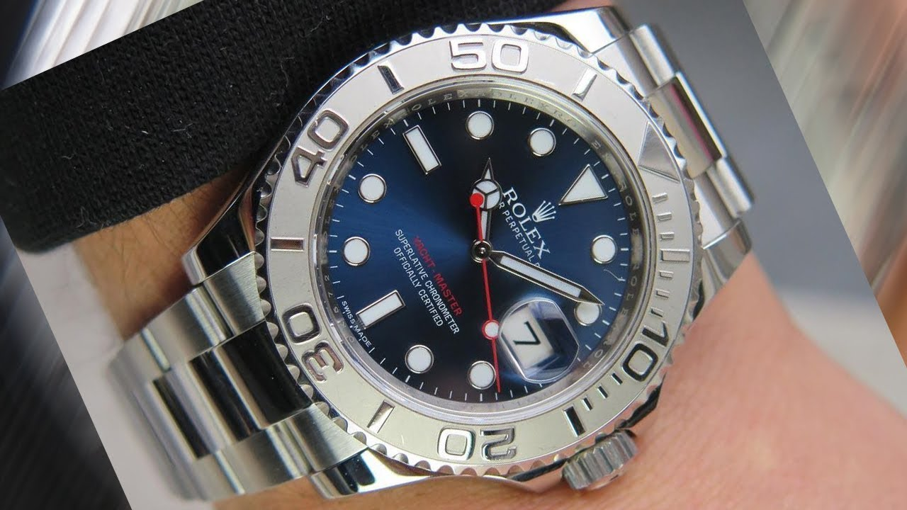 Rolex Yacht,Master 116622 Blue dial 40 mm steel and platinum Swiss made  luxury watch on wrist