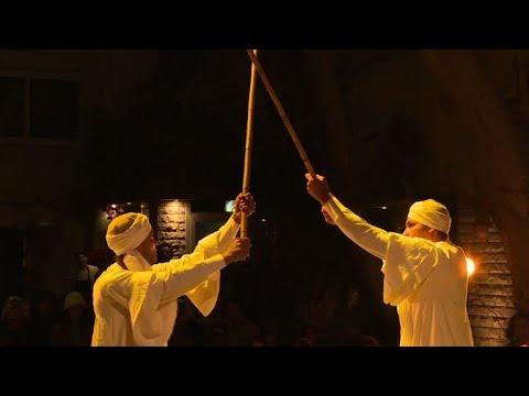 Egyptian dancers perform traditional tahtib' show