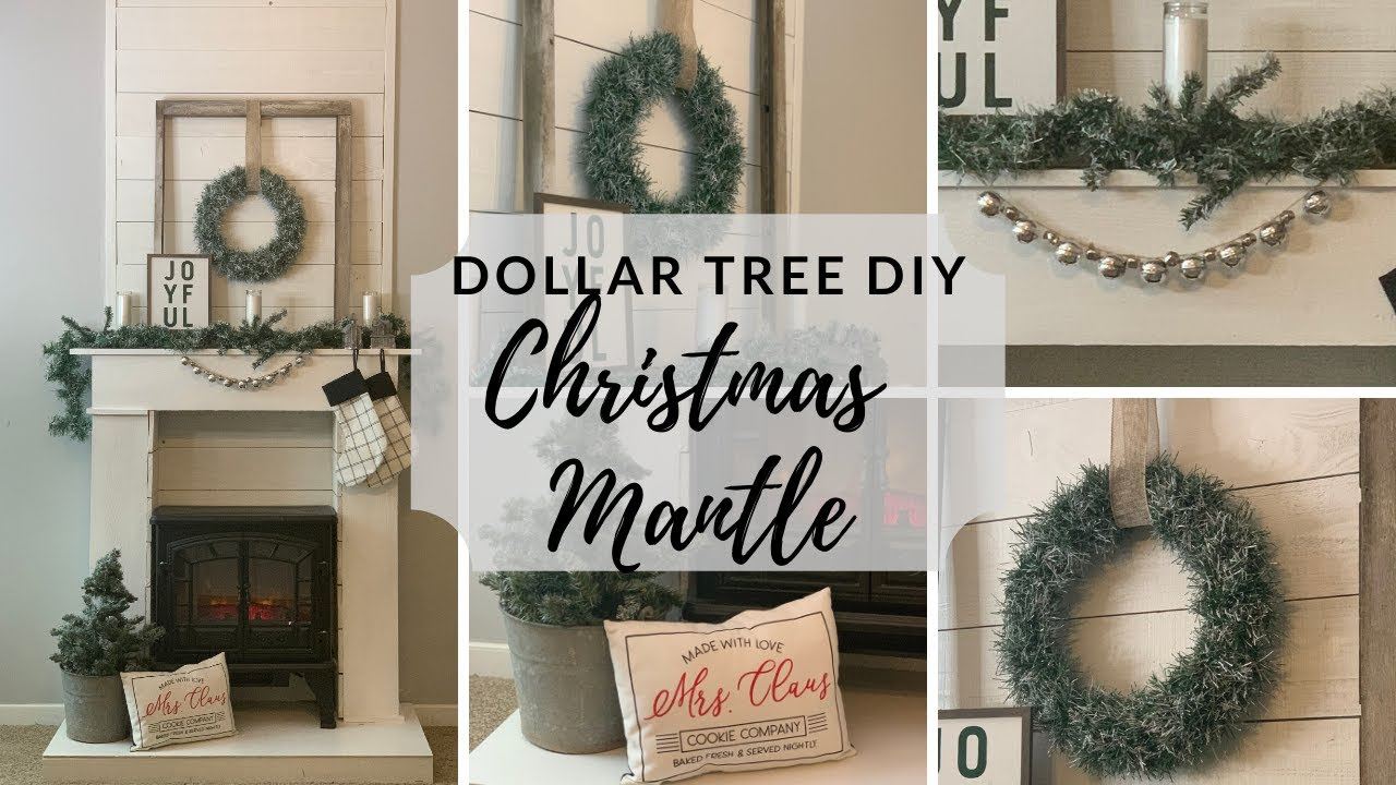 Dollar Tree Christmas Diy Neutral Mantle Decor 2019 Youtube