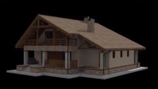 3d  модель мансардного дома с двумя террасами и гаражом