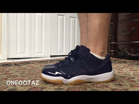 buy online 8846b 2ef3d Air Jordan 11 XI Low Midnight Navy Gum Bottom On Foot