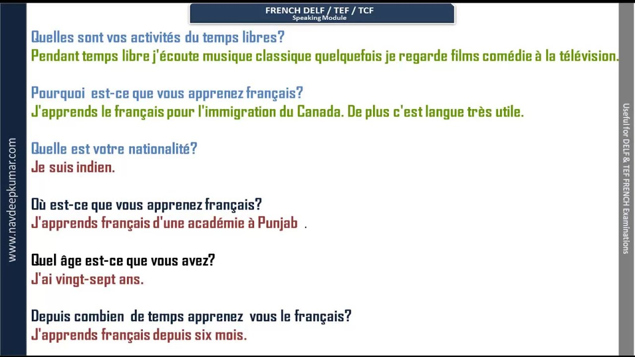 French DELF Speaking Questions with audio