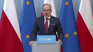 Konferencja prasowa premiera Mateusza Morawieckiego i ministra zdrowia Adama Niedzielskiego.