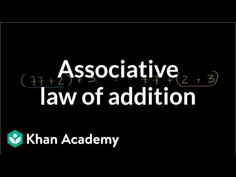 Associative law of addition | Arithmetic properties | Pre-Algebra | Khan Academy