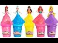 Learn Colors Play Doh Sparkle Disney Princess Dresses Ariel Elsa Belle Magiclip