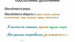 Обособление дополнений (8 класс, видеоурок-презентация)