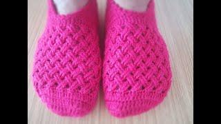 Tığ İşi Kolay Çapraz Örgü Patik Yapılışı/ knitting booties