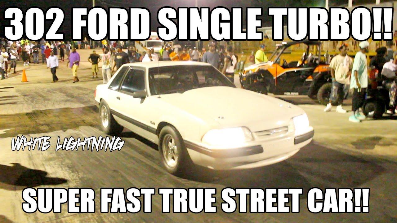 302 FORD SMALL BLOCK SINGLE TURBO TRUE STREET CAR MUSTANG IS SICK!! WHITE  LIGHTNING