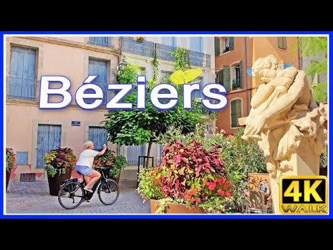 【4K】WALK BEZIERS France 4k Walking Tour SLOW TV Documentary