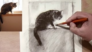 Drawing a Cat on Window Sill with Charcoal