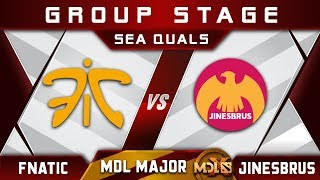 Fnatic vs Jinesbrus - NEW Roster Debut! MDL Chengdu Major 2019 SEA Highlights Dota 2
