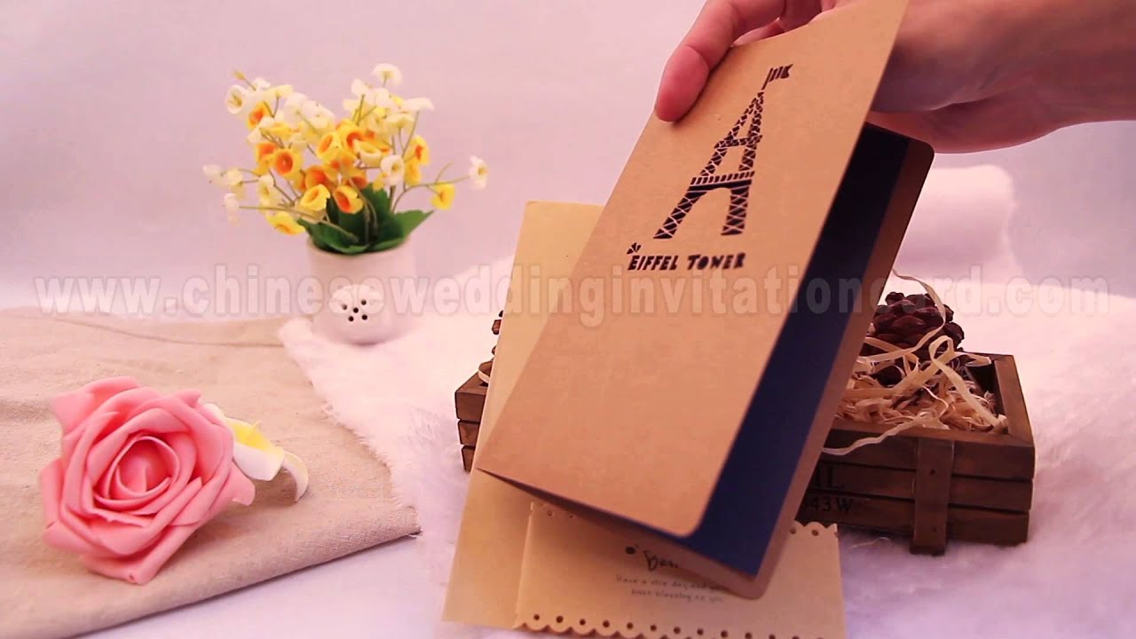 Tower pattern brown paper Chinese wedding invitation card - YouTube