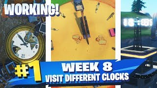 'ACTUAL WORKING CLOCKS' Visit different clocks All 3 Locations Fortnite Week 8 Challenge Season 9