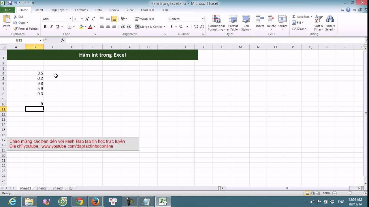 Hướng dẫn cách sử dụng hàm int trong Excel