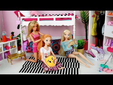Barbie Elsa Pink Bedroom Sleep Over - Barbie Princess Bunk Beds Pajama Party