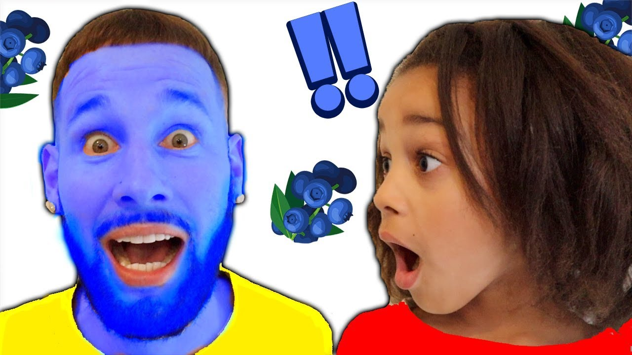 Magic Blueberries Turn Daddys Face Blue!