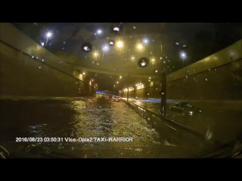 London Flood After Heavy Rain 23/06/2016 - Driving Through A Deep Water