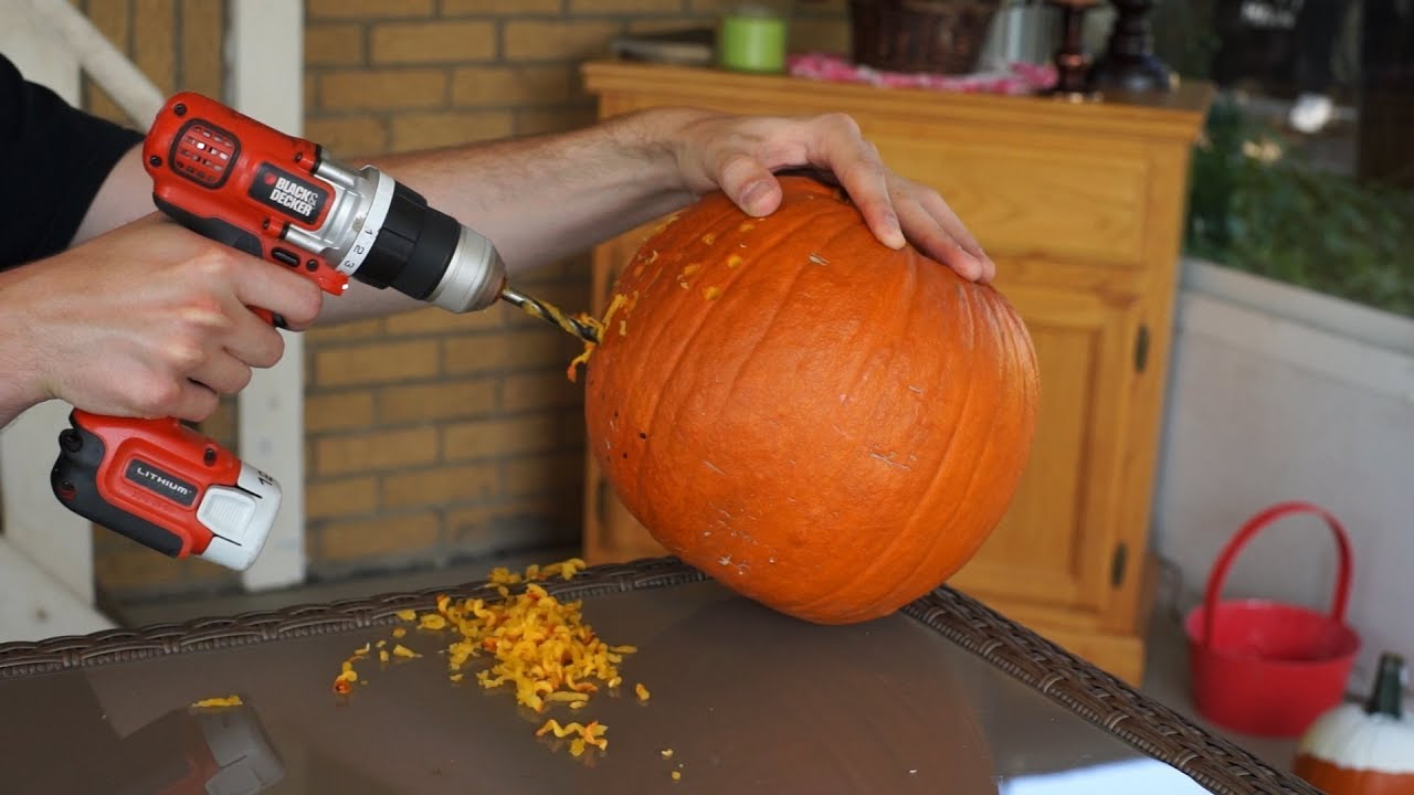 Pumpkin Carving With A Power Drill Youtube