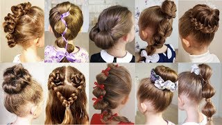 10 cute 1-MINUTE hairstyles for busy morning!  Quick & Easy Hairstyles for School! thumbnail