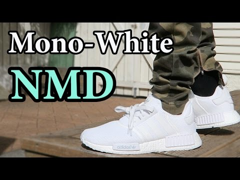 0113752d43269 Adidas Mono-White NMD R1 (White-Out) Close up & ON-FEET w/ Different Pants  - YouTube
