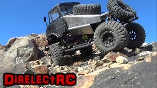 RC Axial SCX10 with a Tamiya Unimog body maxxis trepador 1.9 tires - DirelectRC