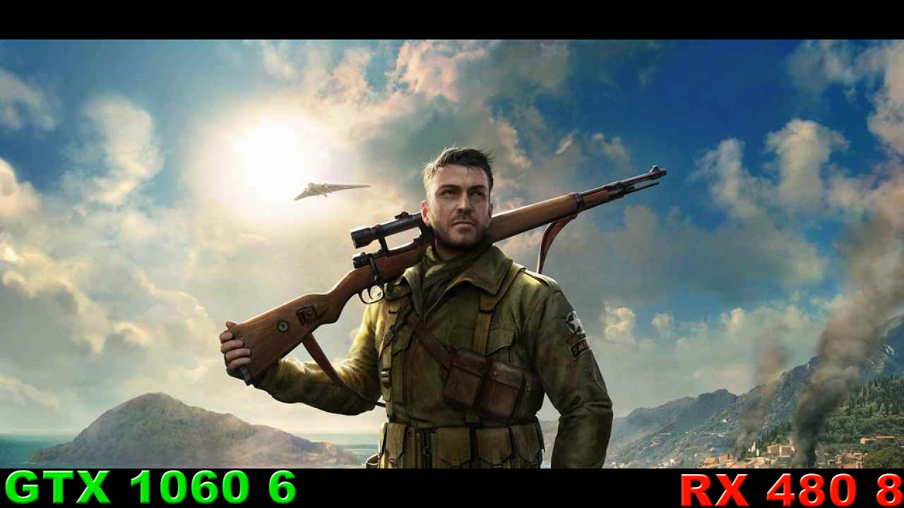 RX 480 8 против GTX 1060 6 в Sniper Elite 4