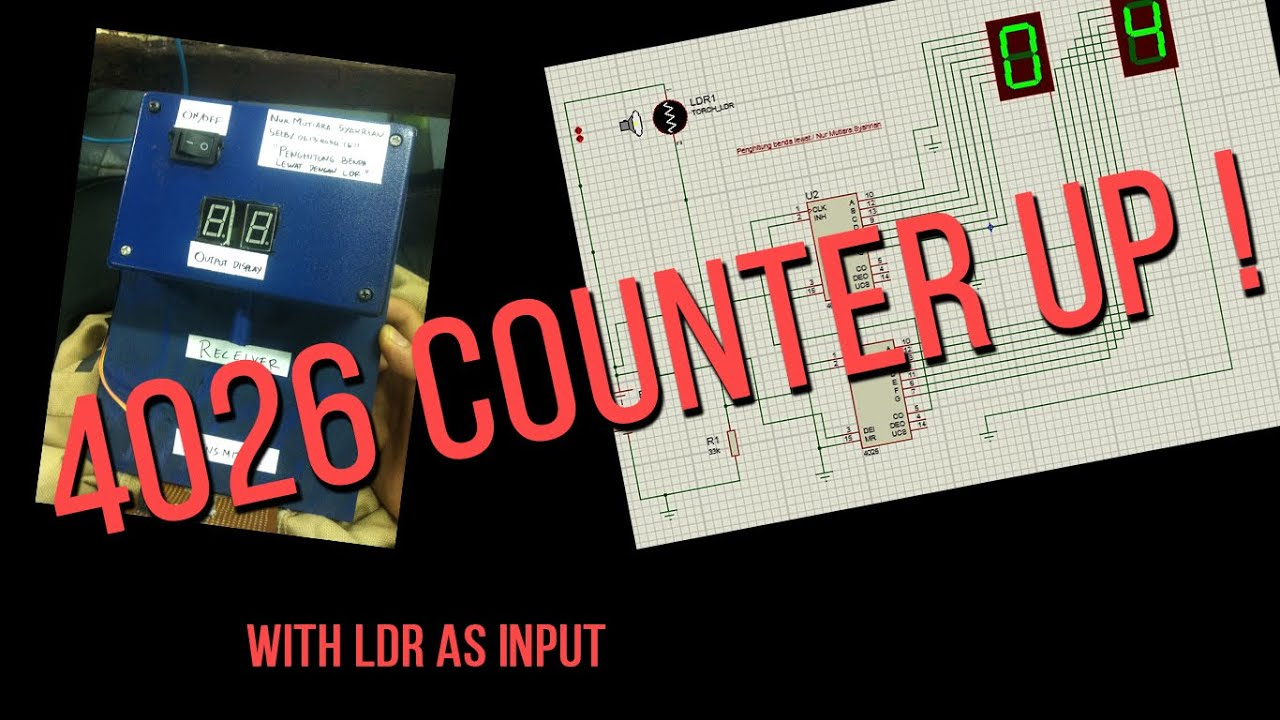 Simple 4026 Manual Digital Counter Up With Ldr And 7segment 7 Segment Circuit Menghitung Benda Lewat Youtube