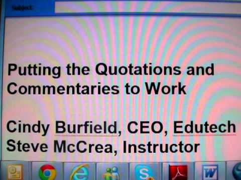 Transform Your Classroom With Quotations (an Edutech workshop) Cindy Burfield and Steve McCrea