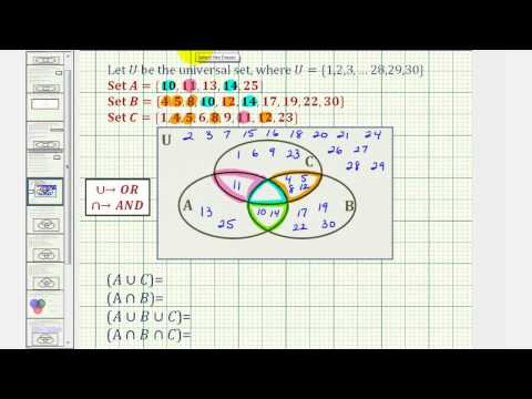 Ex: Find Intersections and Unions of Three Sets Using a Venn diagram (long)