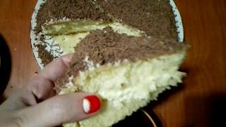 Рецепт: Бисквит- торт Нежность с кремом из сгущенки!💟🎂👌