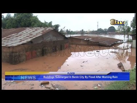 Buildings submerged in Benin by flood after morning rain