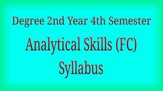 Degree 2nd Year 4th Semester Analytical Skills Syllabus | Telugu Trending World